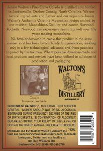 Junio Walton's Pine Shine Colada back label