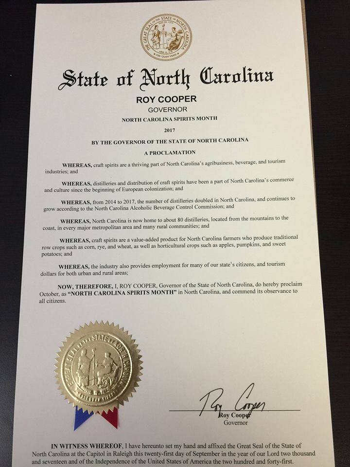 North Carolina's Spirits Month Procoamation